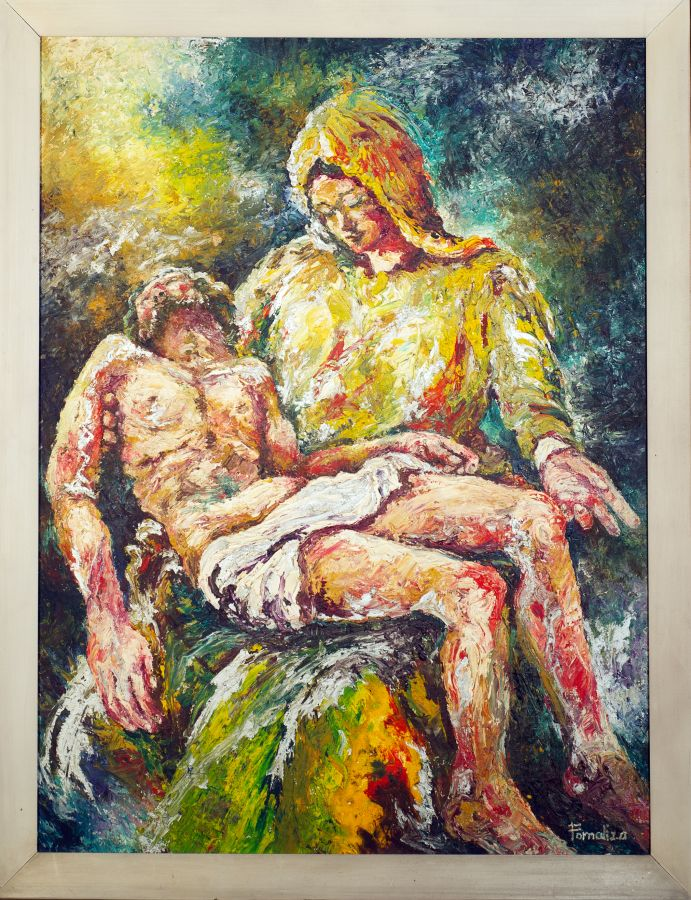 Pieta - given to Vic by the family of his nanny Aling Aurelia Sanchez upon her instructions when she died in 2006, Baltazar Fornaliza's oil on canvas interpretation of the Pieta is situated right above the main entrance of the Café, as if a reminder of the very reason for our salvation.